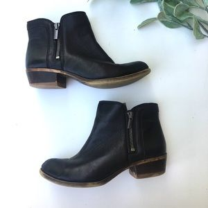 Lucky Brand Black Ankle Double Zipper Bootie
